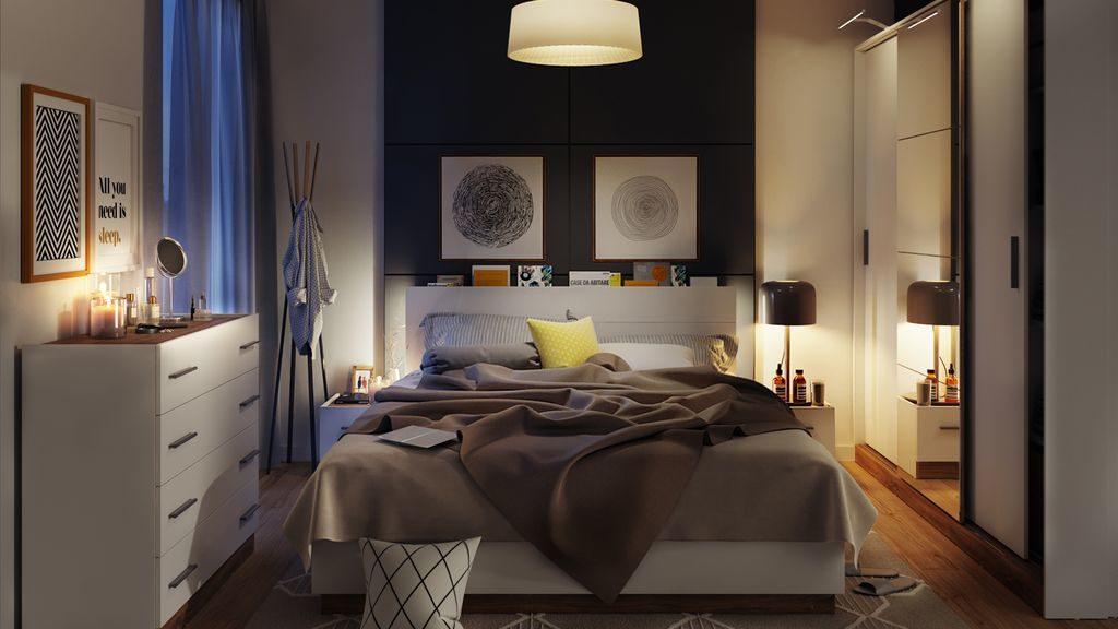 Pięknie oświetlona sypialnia Dentro