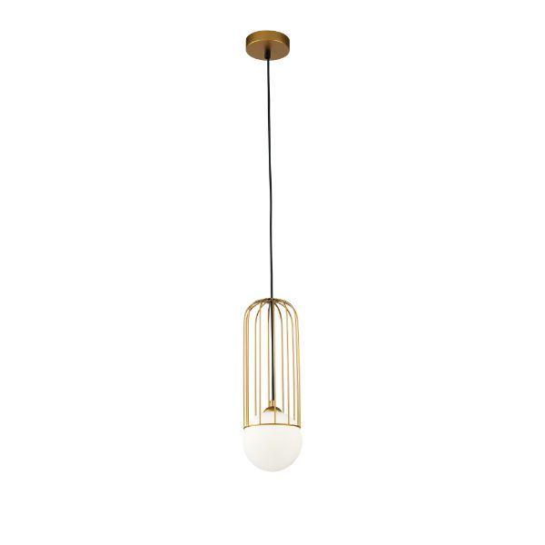 złota lampa wisząca do łazienki
