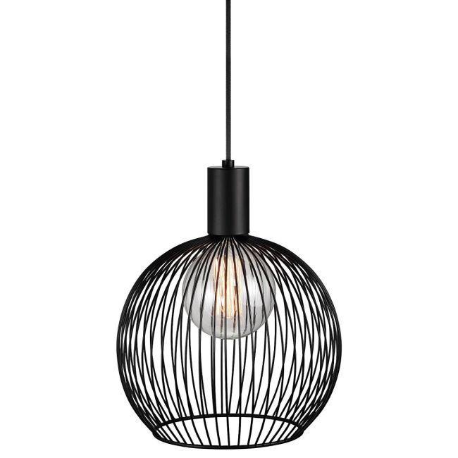 czarna okrągła lampa druciana