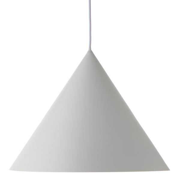 biała stożkowa lampa wisząca nad stół
