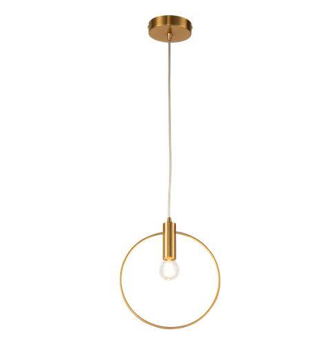 złota lampa wisząca z kółkiem