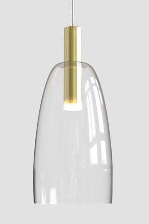 złota lampa ze szklanym kloszem