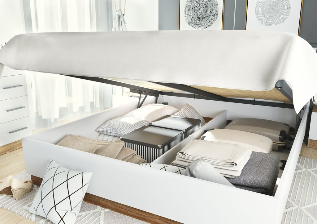 Łóżko z pojemnikiem i podnośnikiem materaca