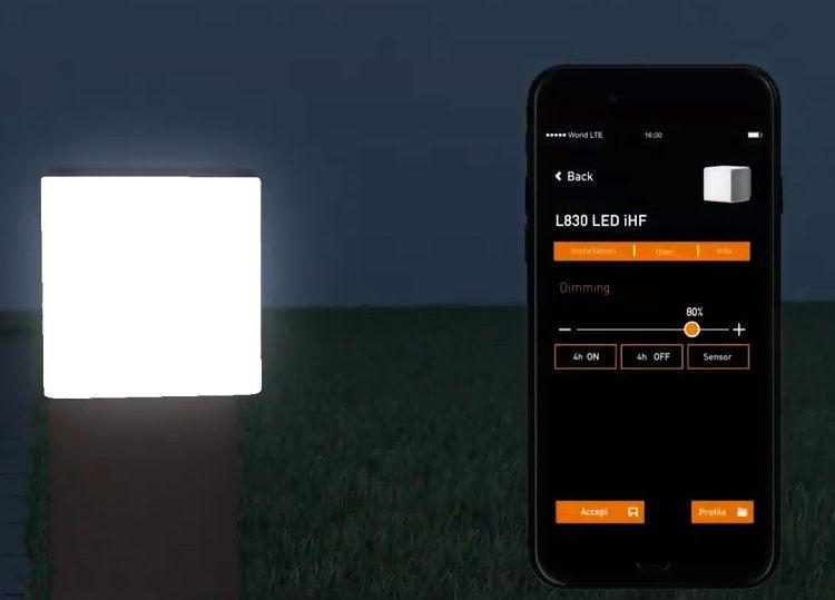 ustawianie natężenia światła lampy w aplikacji
