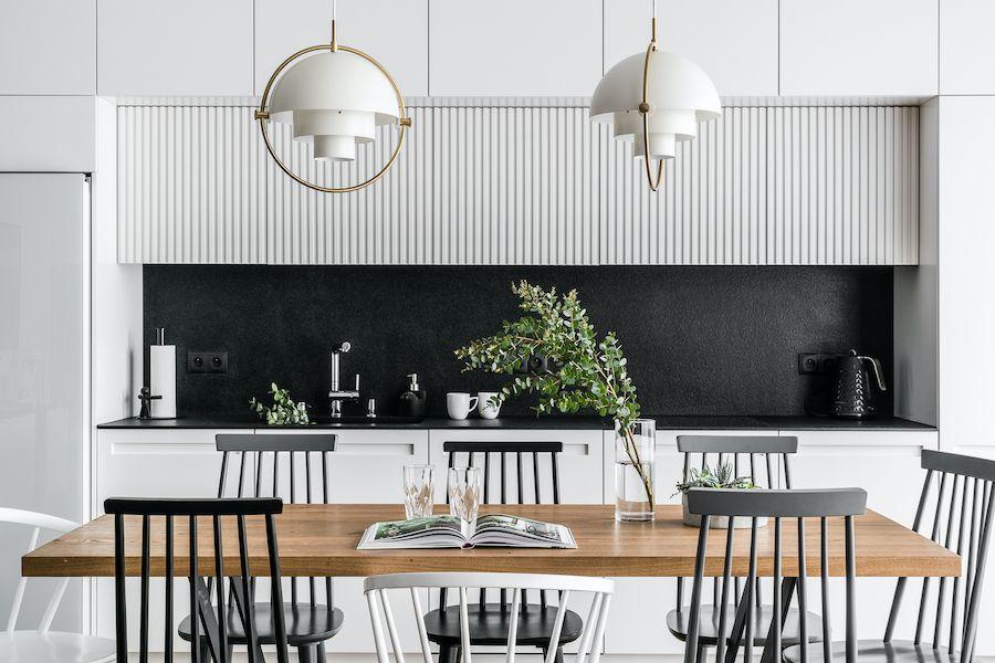 biało złote lampy nad stół do kuchni