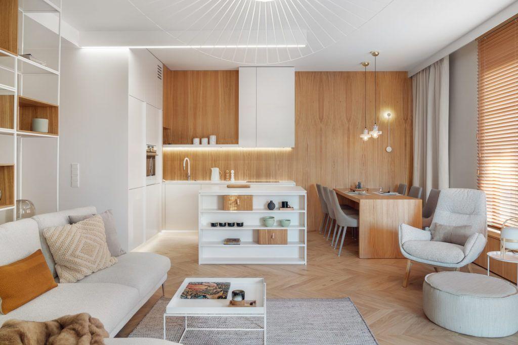 mieszkanie w drewnie i bieli