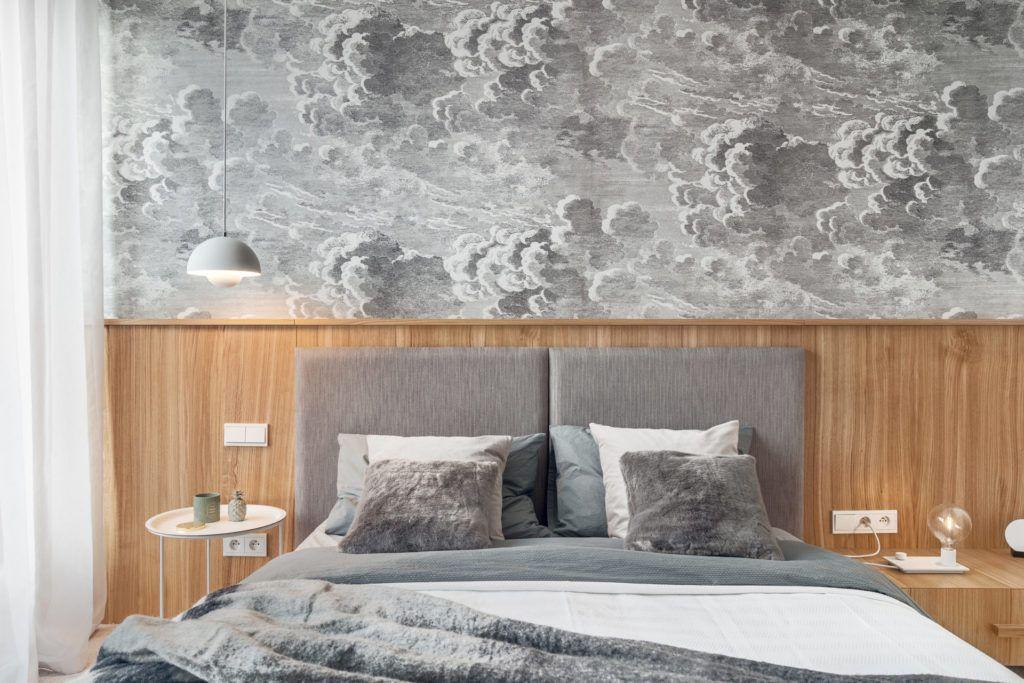 tapeta nad łożko w sypialni