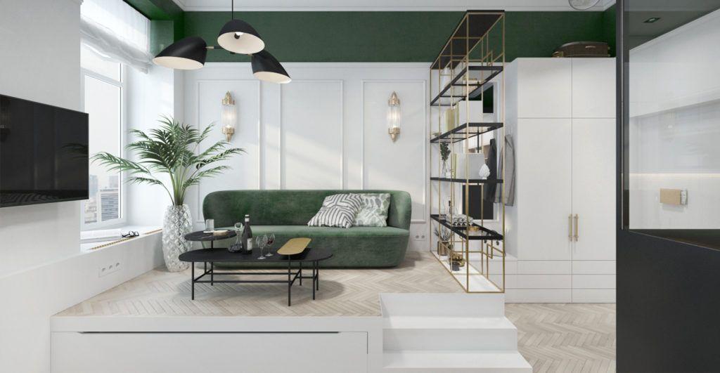 czarna lampa do zielonej kanapy