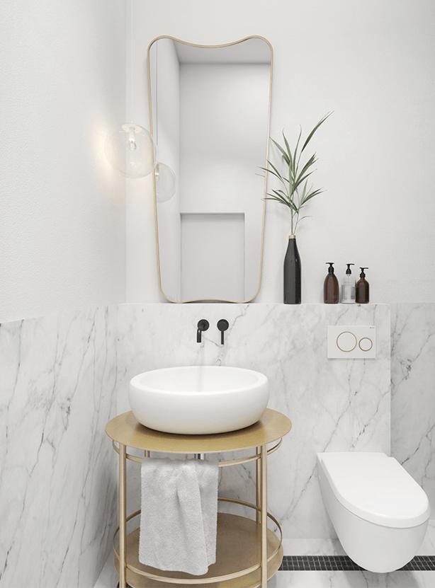 łazienka w stylu retro z lustrem