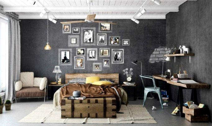 tynk dekoracyjny ciemny do drewna w sypialni