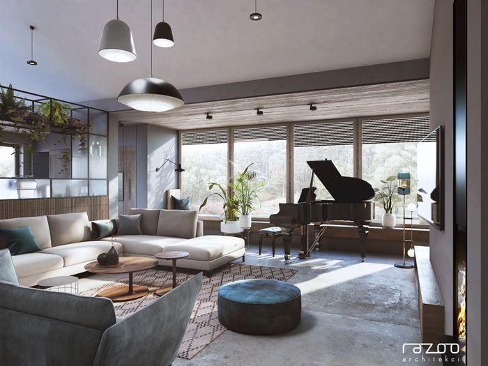duży salon z fortepianem i czarnymi lampami