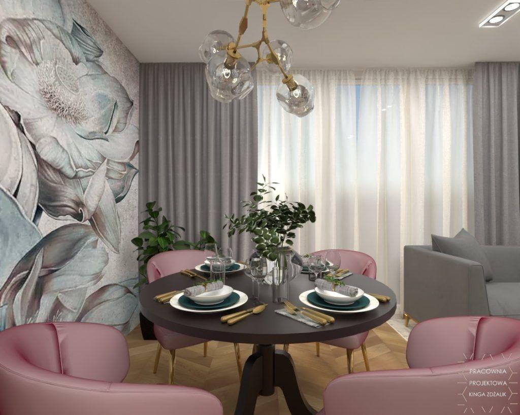 różowe krzesła do stołu w salonie