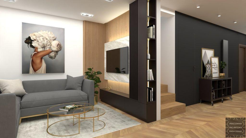 salon z ozdobnymi drewnianymi belkami