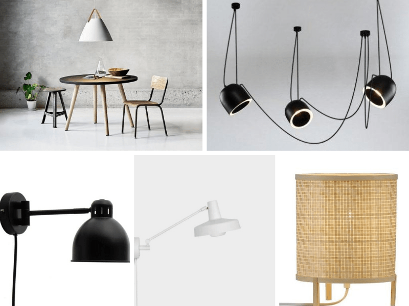 lampy białe i czarne w stylu skandynawskim