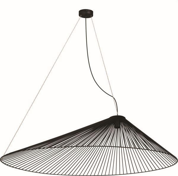 czarna lampa wisząca nad stół ażurowa
