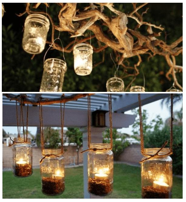 Żyrandol DIY z gałęzi słoików i świeczek