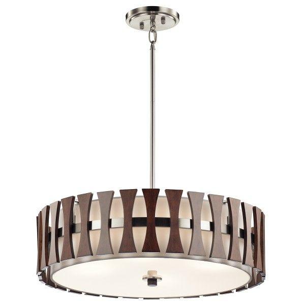 lampa nad stół z drewnianymi detalami