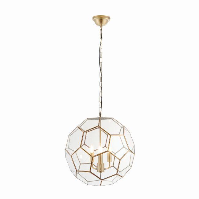 lampa wisząca szklany klosz złote detale
