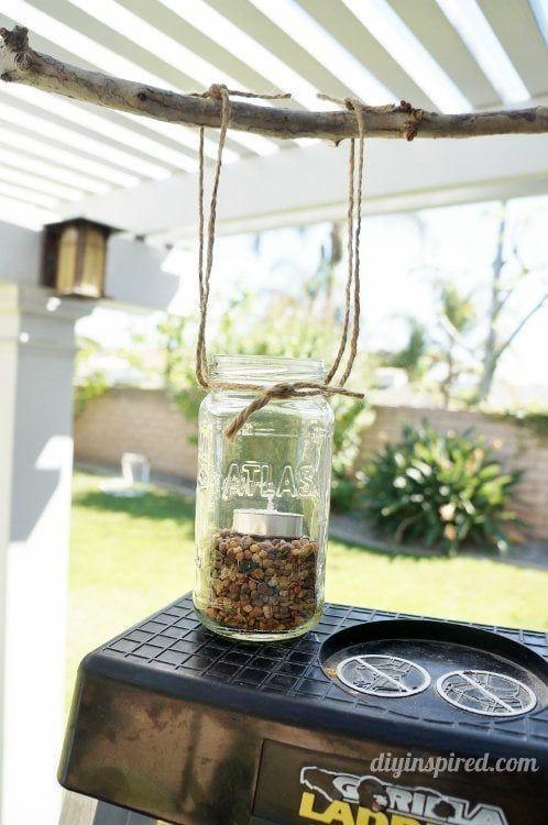 podwiązanie słoika do żyrandola DIY