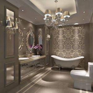 pomysł na łazienkę z żyrandolem