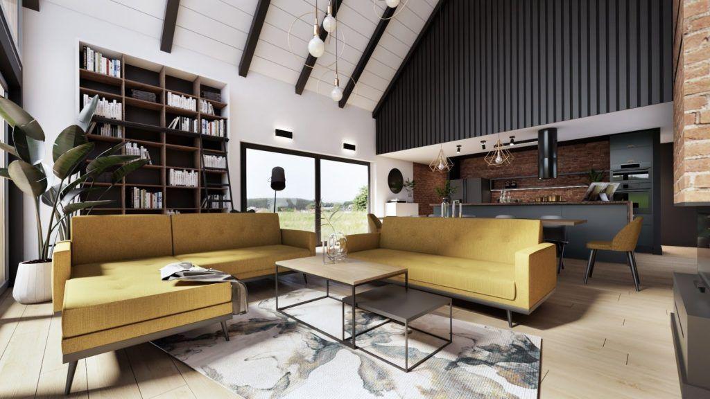 salon z cegłą i musztardową kanapą