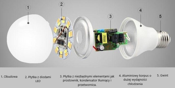 budowa żarówki LED