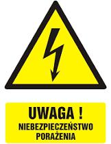 znak zachowaj bezpieczeństwo przy montażu lampy