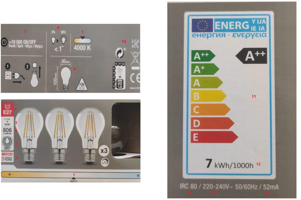 oznaczenia na żarówkach LED
