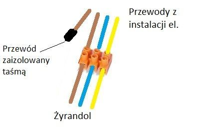 Schemat podłączenia lampy z 4 kablami z sufitu i 3 kablami z żyrandola