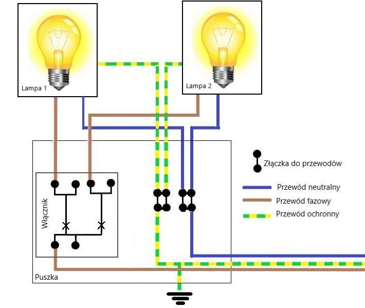 jak podłączyć wyłącznik do dwóch lamp