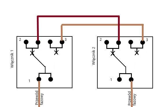 schemat połączenia włączników schodowych