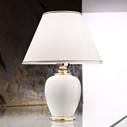 klasyczna lampa stołowa, kremowa ceramika