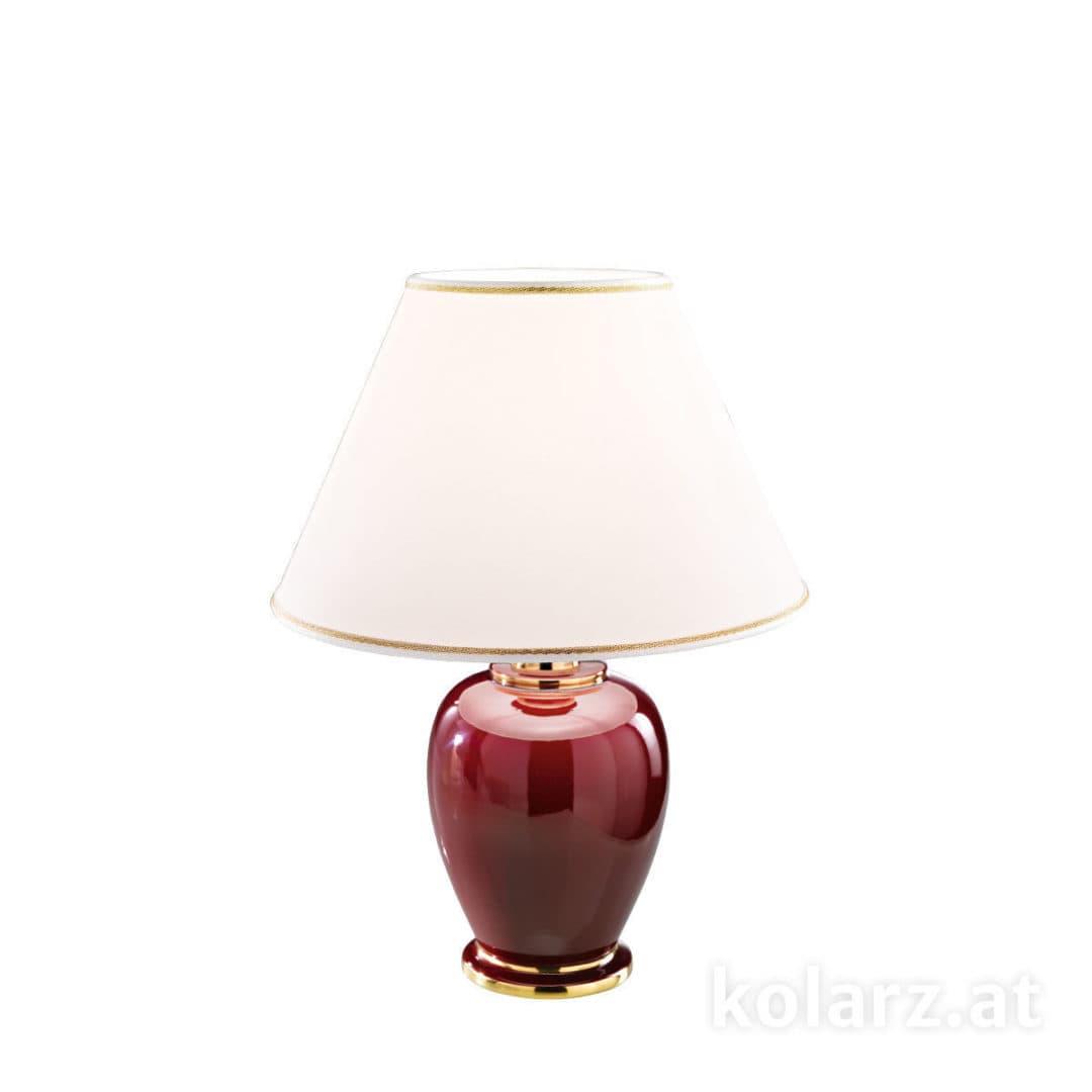 klasyczna lampa stołowa, bordo, złoto - aranżacja