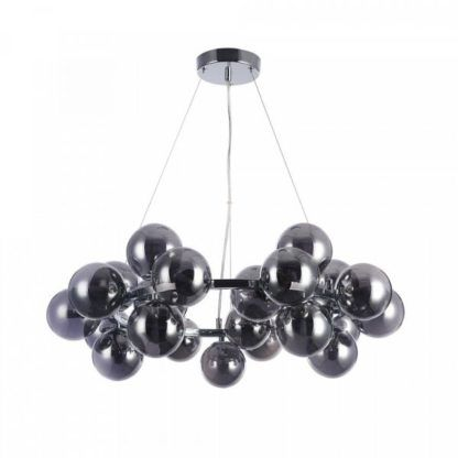 szara lampa wisząca, szklane bańki na srebrnym okręgu