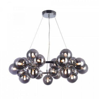 designerska lampa wisząca z barwionego szkła, szare bańki