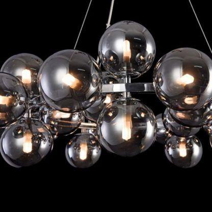 szklana lampa wisząca, nowoczesna, dymione szkło