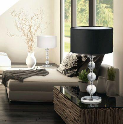 lampa stołowa z abażurem biała i czarna -aranżacja salon