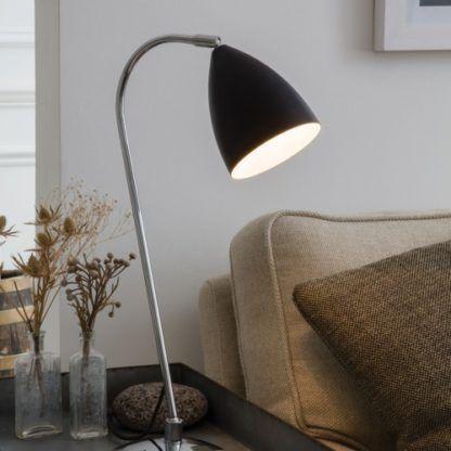 nowoczesna lampa stołowa czarna, srebrna