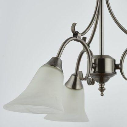 srebrny żyrandol szklane klosze