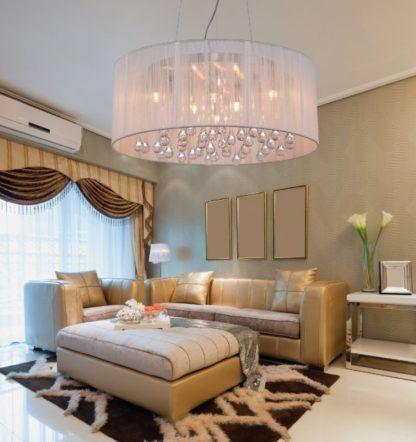 lampa wisząca z abażurem i kryształkami w środku
