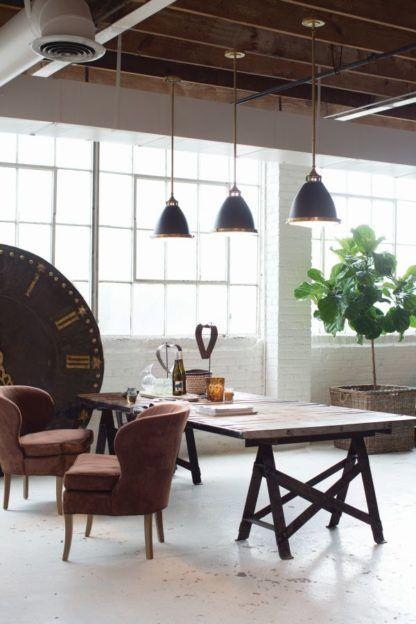 lampa wisząca nowoczesna, brązowy metal - aranżacja jadalnia