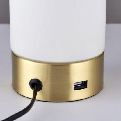 złota lampa stołowa z portem USB