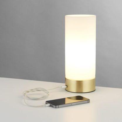 szklana lampa z portem USB