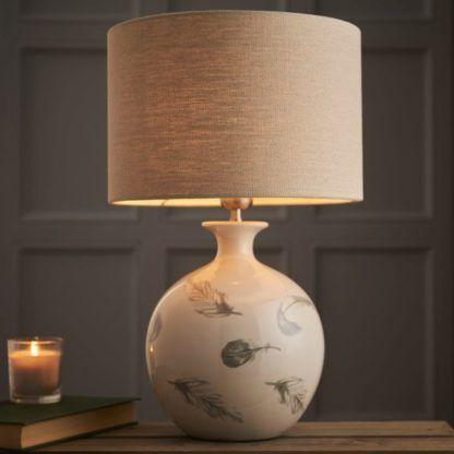 porcelanowa lampa stołowa w pióra