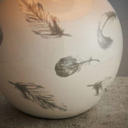 lampa stołowa w pióra ceramika