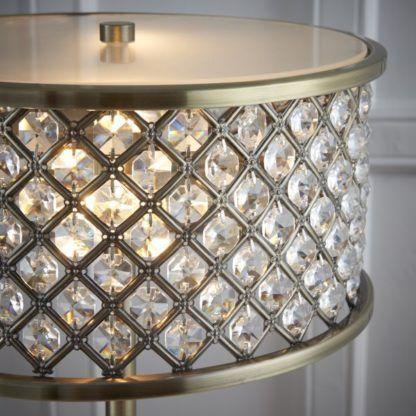 złota lampa stołowa z kryształkami