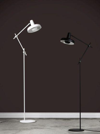 lampa podłogowa nowoczesna biel i czerń