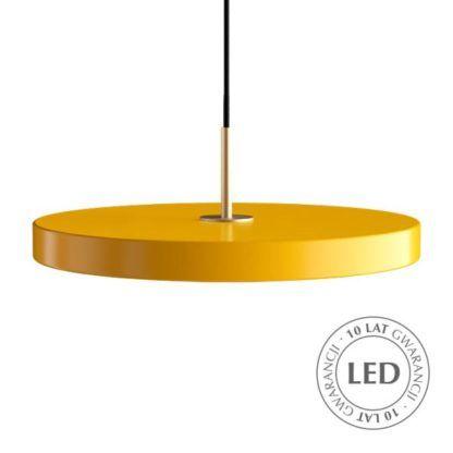 nowoczesna lampa wisząca, okrągły, płaski klosz z ledowym panelem, klosz żółty, lampa nad stół