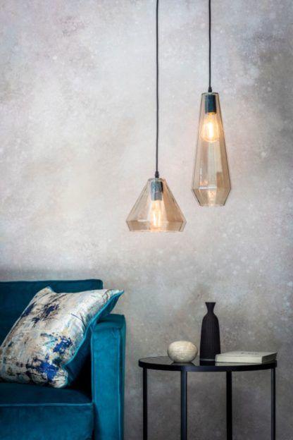 szklane lampy do salonu aranżacja