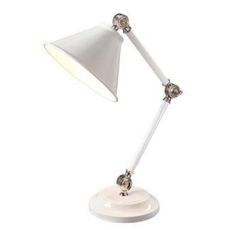 Klasyczna lampa stołowa Prestige - biała, srebrne detale